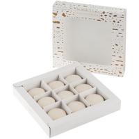 Набор из 9 пирожных макарон, в коробке с окошком