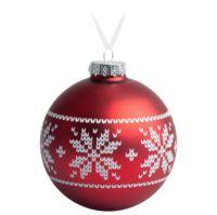 Елочный шар «Скандинавский узор», 10 см, красный